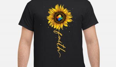 Faith Sunflower Childhood Cancer Awareness Shirt