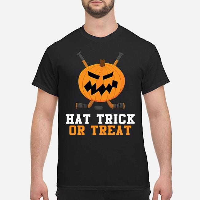 Hockey Pumpkin Hat Trick Or Treat Halloween Shirt