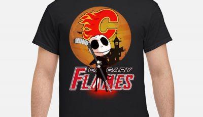 Jack Skellington Holding Hockey Stick Calgary Flames Shirt