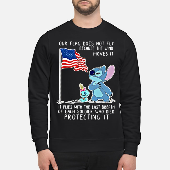 Stitch our flag does not fly because the wind moves it sweater