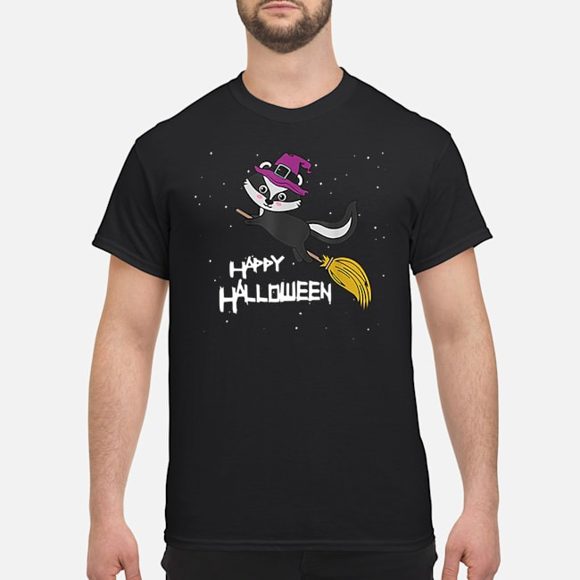Witch Skunk Flying Broomstick Costume Cute Halloween Shirt