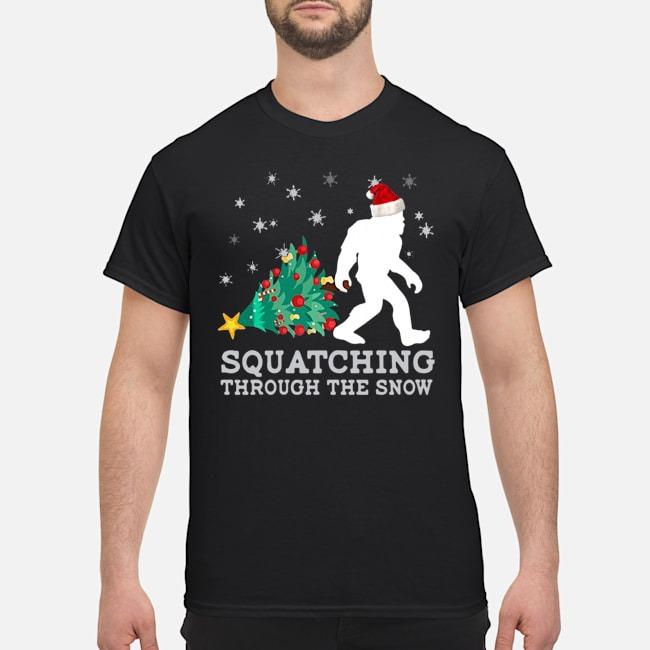 Bigfoot Santa Squatching Through The Snow Christmas Shirt