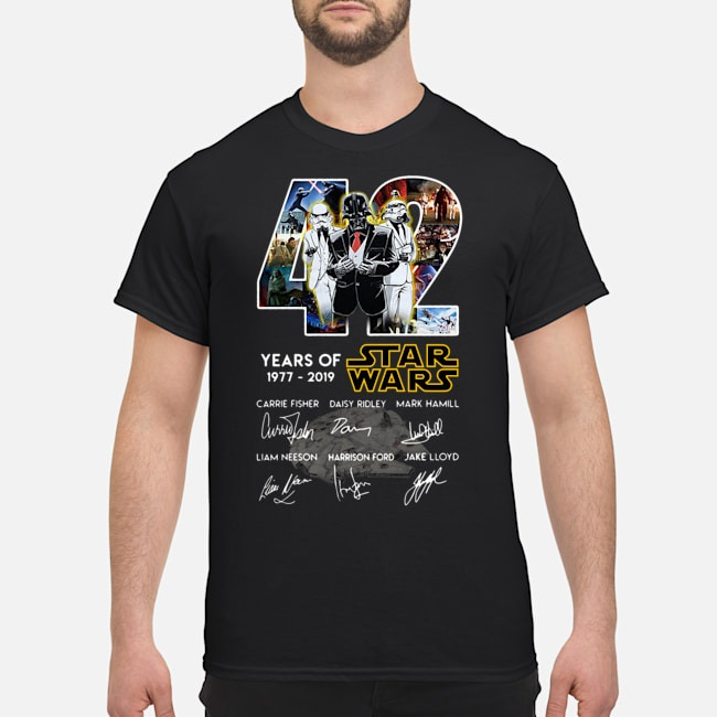Death Star Darth Vader Stormtrooper 42 Years Of Star Wars Signatures Shirt
