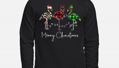 Flamingos Merry Christmas leopard plaid sweater