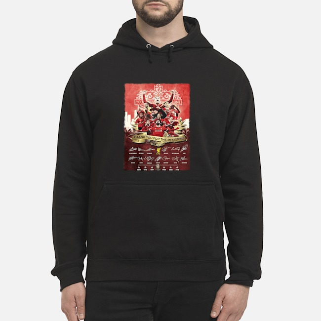 Liverpool FC You'll never Walk Alone 1977 2019 Champions thank you for the memories signatures hoodie