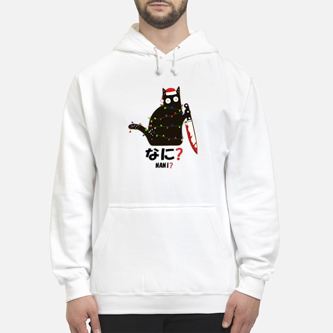 Santa Nani murderous black cat with knife light Christmas Hoodie