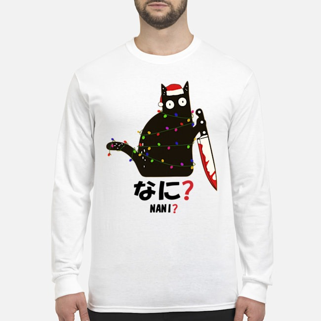 Santa Nani murderous black cat with knife light Christmas Long Sleeved T-Shirt