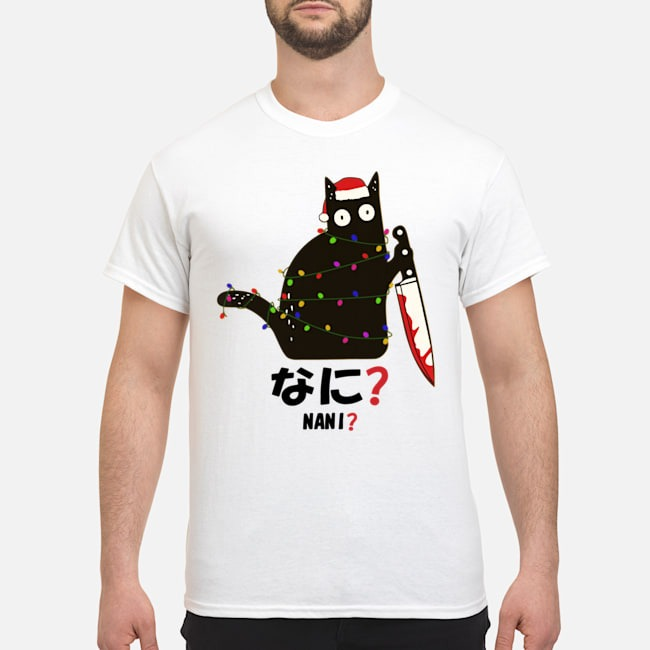 Santa Nani murderous black cat with knife light Christmas shirt