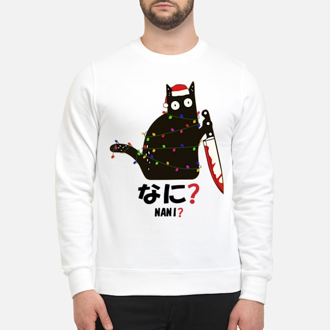 Santa Nani murderous black cat with knife light Christmas sweater