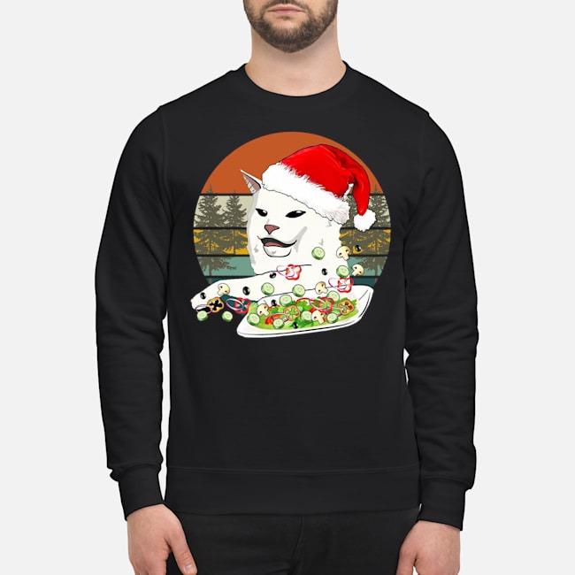 Santa Woman Yelling At A Cat Vintage Christmas Sweater
