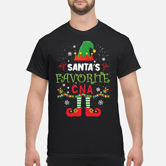 Santa's Favorite CNA ELF Christmas Shirt