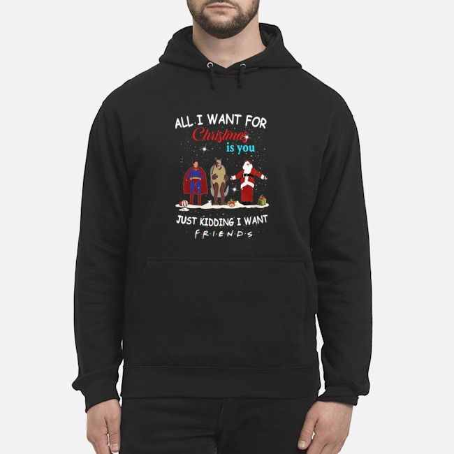 Supper Hero Santa All I Want For Christmas Is You Just Kidding I Want Friends Hoodie