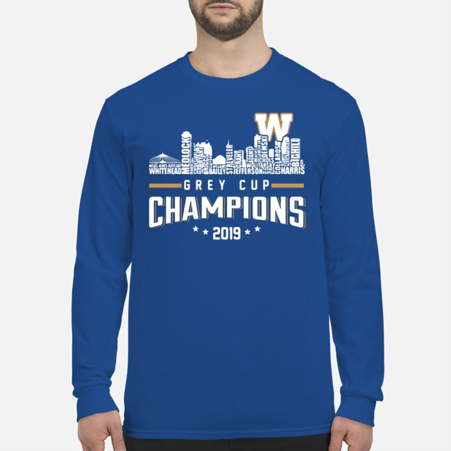 Winnipeg Blue Bombers City Grey Cup Champions 2019 Long Sleeved T-Shirt