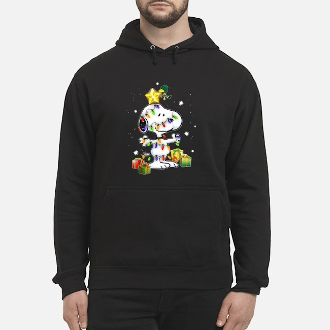 Woodstock Decorates Snoopy With Christmas Lights Hoodie