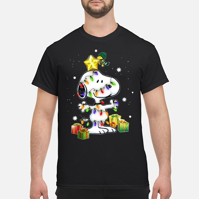Woodstock Decorates Snoopy With Christmas Lights Shirt