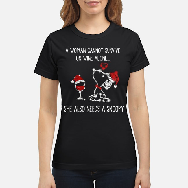 A woman cannot survive on wine alone she also needs a Snoopy diamond Christmas Ladies