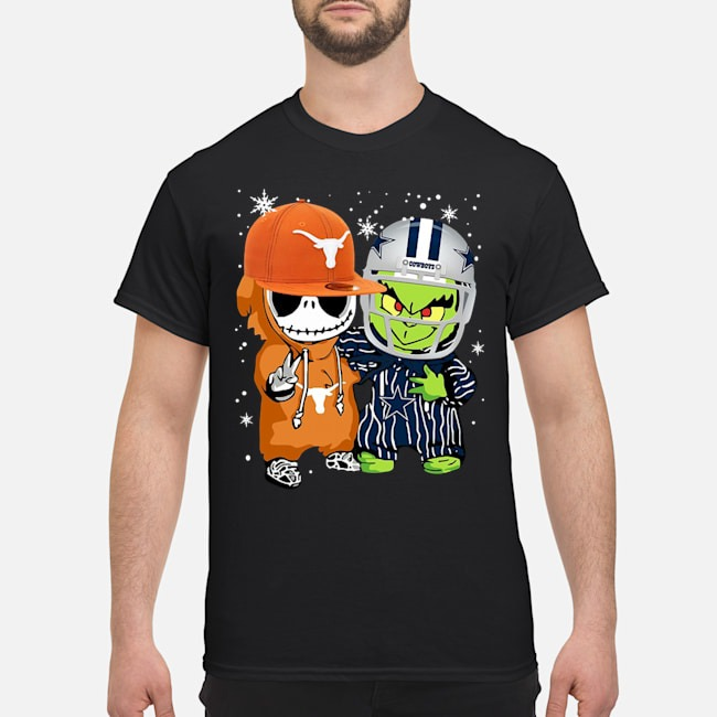Baby Grinch And Baby Jack Skellintong Hockey Player Shirt
