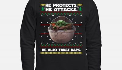 Baby Yoda He protects he also takes naps ugly Christmas sweater