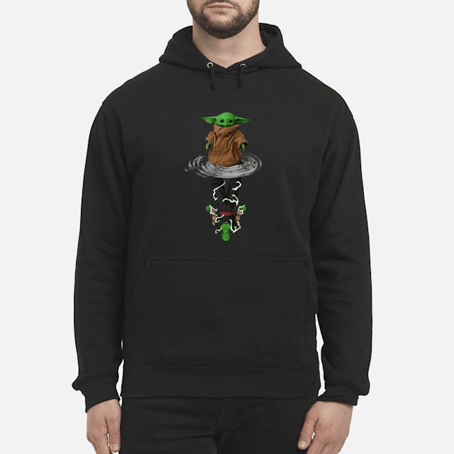 Baby Yoda Water Reflection Mirror Vs Piccolo Hoodie