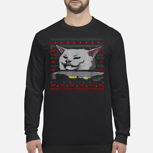 Dinner cat meme ugly Mery Xmas Long Sleeved T-Shirt