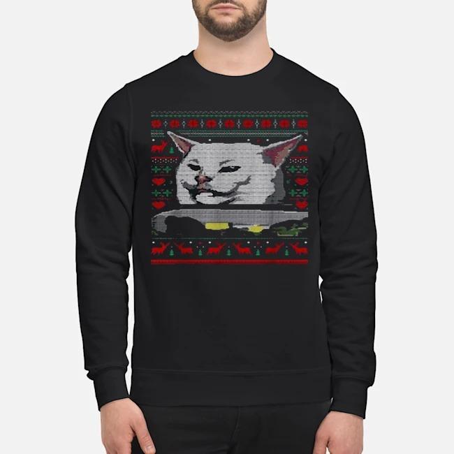 Dinner cat meme ugly Mery Xmas Sweater