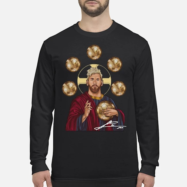 Jesus Messi Six Golden Ball Signature Long Sleeved T-Shirt
