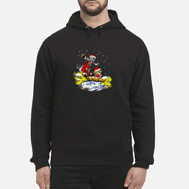 Santa Baby Yoda Walking Under The Snow Christmas Hoodie