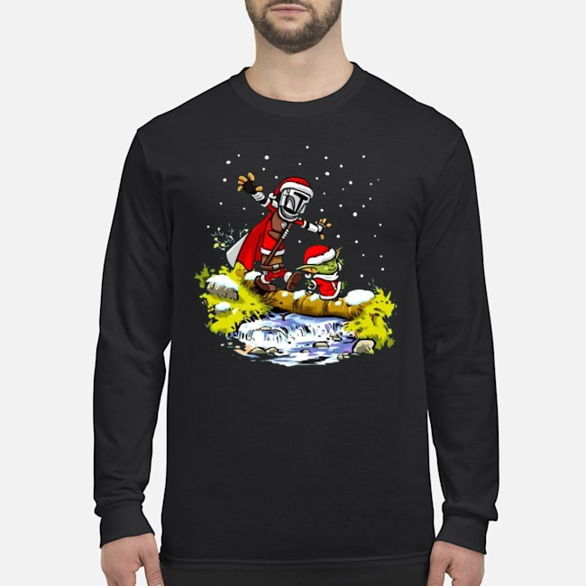 Santa Baby Yoda Walking Under The Snow Christmas Long Sleeved T-Shirt
