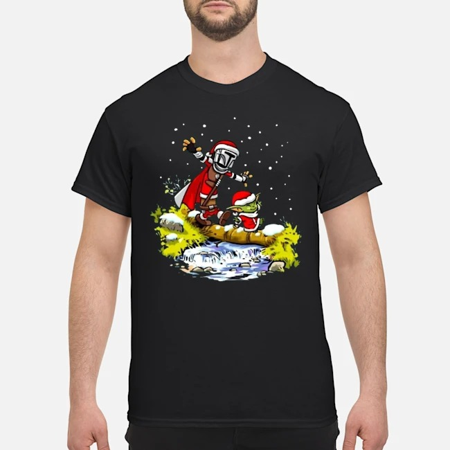 Santa Baby Yoda Walking Under The Snow Christmas Shirt