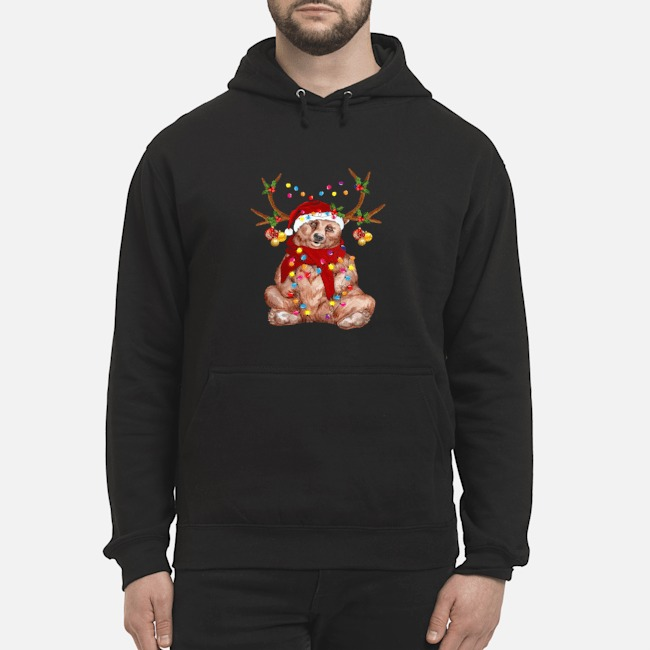 Santa Bear Reindeer Light Christmas Hoodie