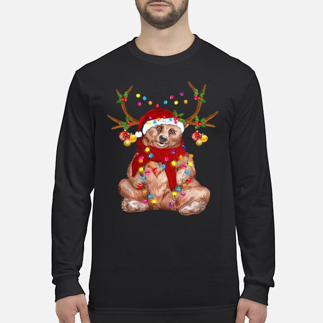 Santa Bear Reindeer Light Christmas Long Sleeved T-Shirt