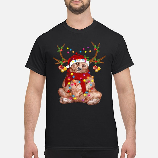 Santa Bear Reindeer Light Christmas Shirt