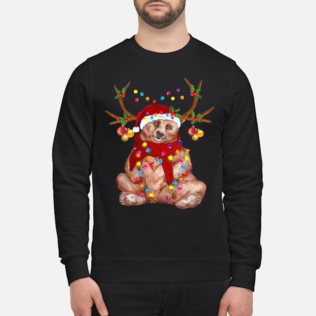 Santa Bear Reindeer Light Christmas Sweater