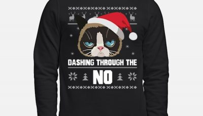 Santa Cat Dashing Through The No Ugly Christnas Sweater