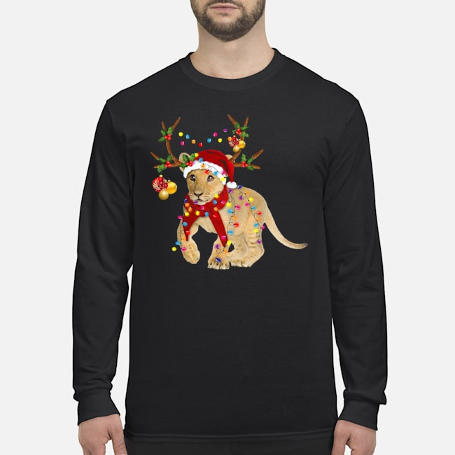 Santa Lion Reindeer Light Christmas Long Sleeved T-Shirt