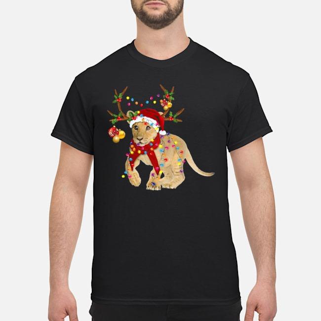 Santa Lion Reindeer Light Christmas Shirt