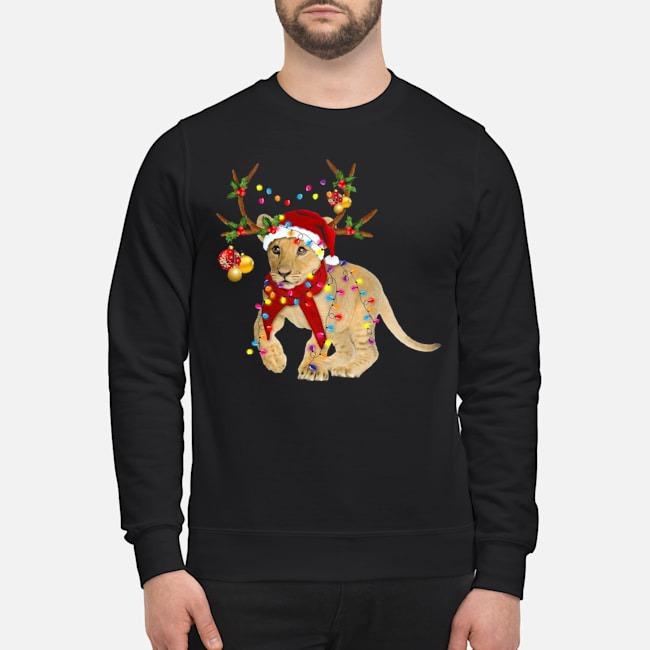 Santa Lion Reindeer Light Christmas Sweater