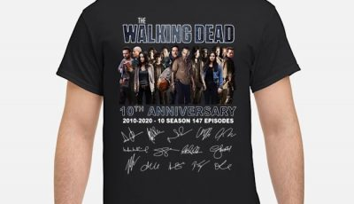 The Walking Dead 10th Anniversary 2010-2020 10 Season 147 Episodes Signatures Shirt