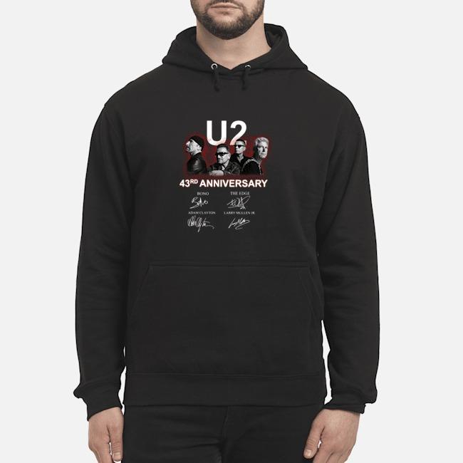 U2 43rd Anniversary Bono The Edge Adam Clayton Larry Mullen Jr Signatures Hoodie