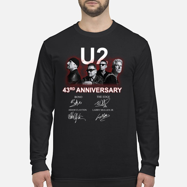 U2 43rd Anniversary Bono The Edge Adam Clayton Larry Mullen Jr Signatures Long Sleeved T-Shirt