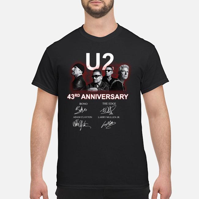 U2 43rd Anniversary Bono The Edge Adam Clayton Larry Mullen Jr Signatures Shirt
