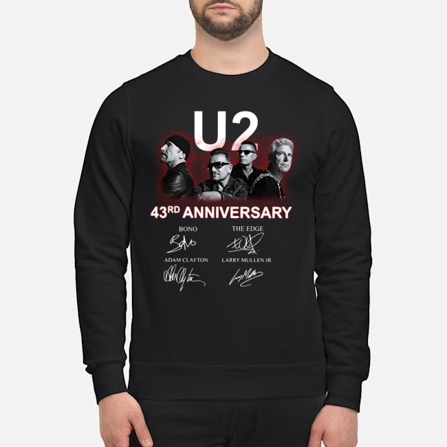U2 43rd Anniversary Bono The Edge Adam Clayton Larry Mullen Jr Signatures Sweater