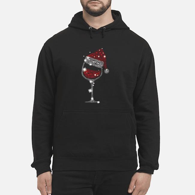 Wine Glass Red Santa Hat Diamond Glitter Christmas Hoodie