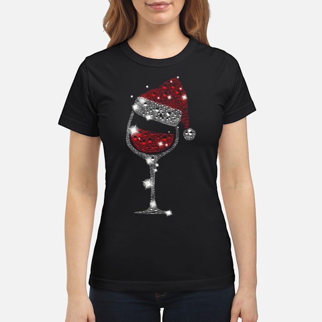 Wine Glass Red Santa Hat Diamond Glitter Christmas Ladies