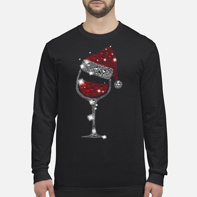Wine Glass Red Santa Hat Diamond Glitter Christmas Long Sleeved T-Shirt