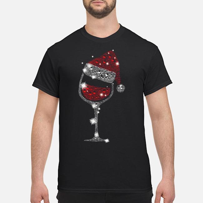 Wine Glass Red Santa Hat Diamond Glitter Christmas Shirt