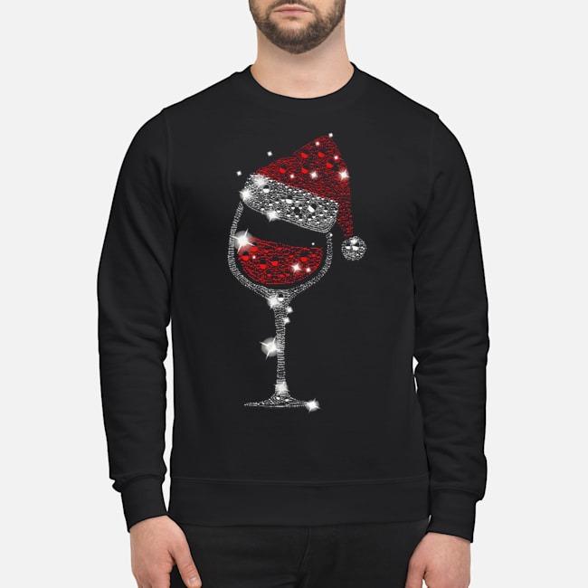 Wine Glass Red Santa Hat Diamond Glitter Christmas Sweater