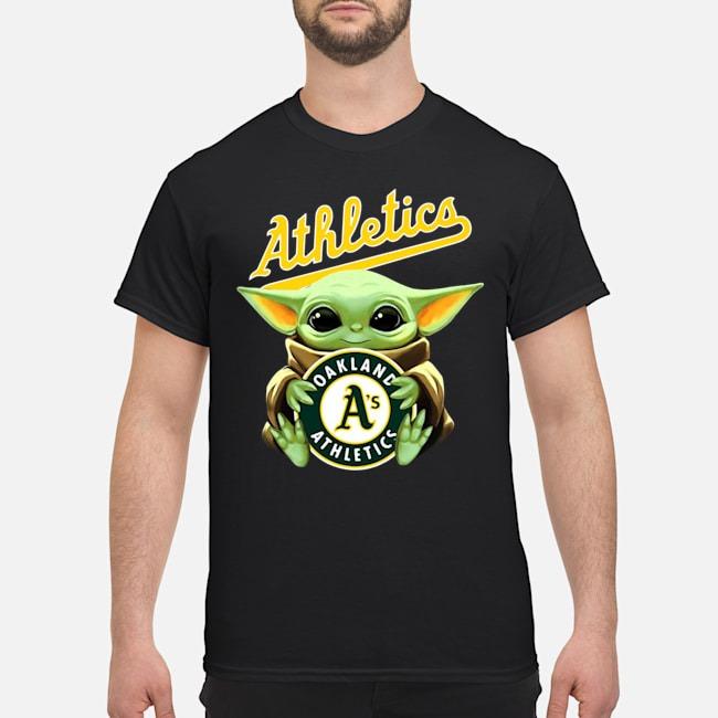 Baby Yoda Hug Oakland Athletics Logo Shirt