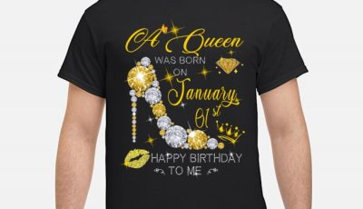 Glitter a queen was born on January 01st happy birthday to me shirt