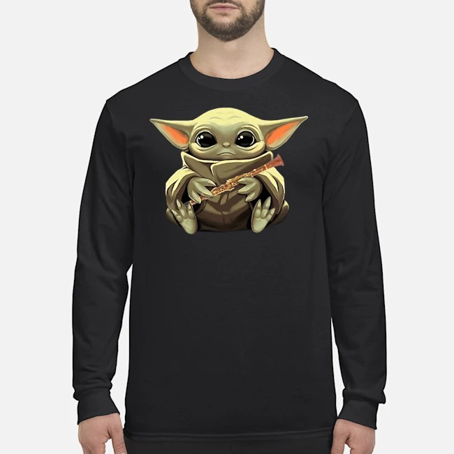 Baby Yoda Hug Clarinet Long Sleeved T-Shirt